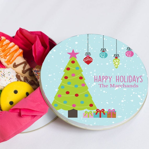 Christmas Tin Cookies.Christmas Tin For Cookies Personalized Christmas Tin Christmas Candy Container Baked Goods Colorful Christmas Tin