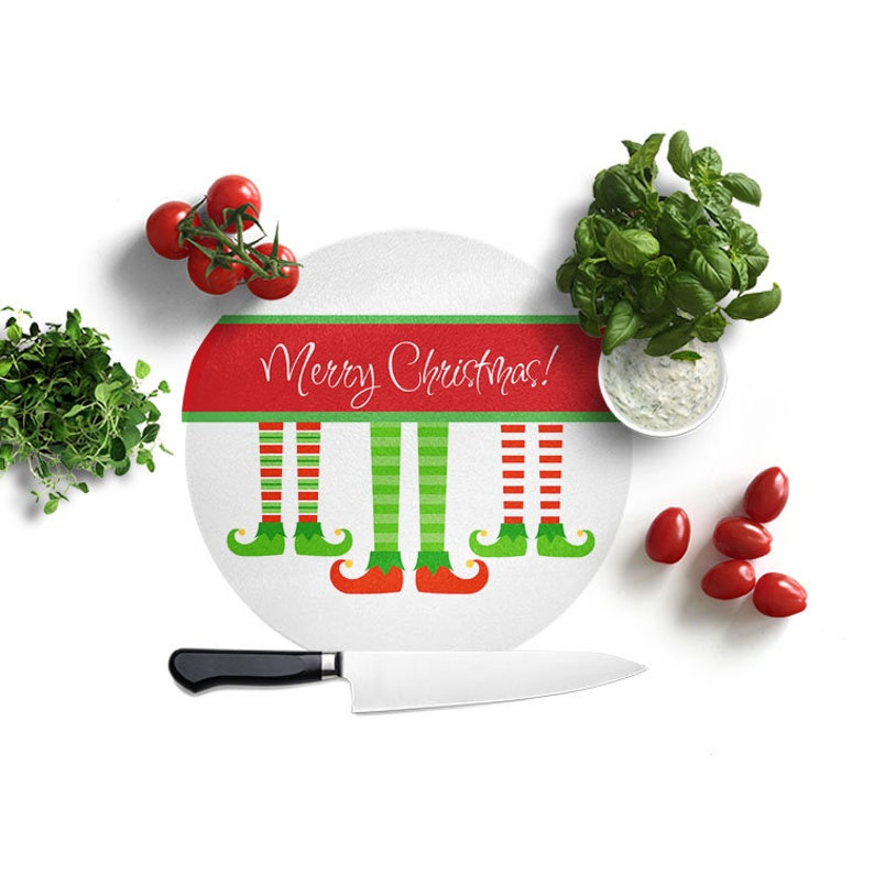 Red and Green Elf Stocking Board Christmas Cutting Board Custom Name Cutting Board Glass Cutting Board Gift for Family