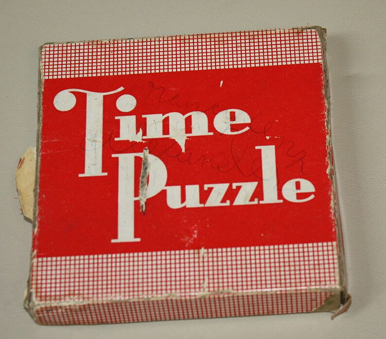 Rare Time Puzzle 1937 Made by Embossing Company of Albany NY Sliding Tile  Puzzle