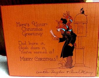 Unique 1920s Christmas Card Orange Hand Painted Deco Period Lingo