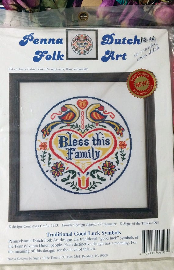 1995 Penna Dutch Folk Art Counted Cross Stitch Bless Etsy