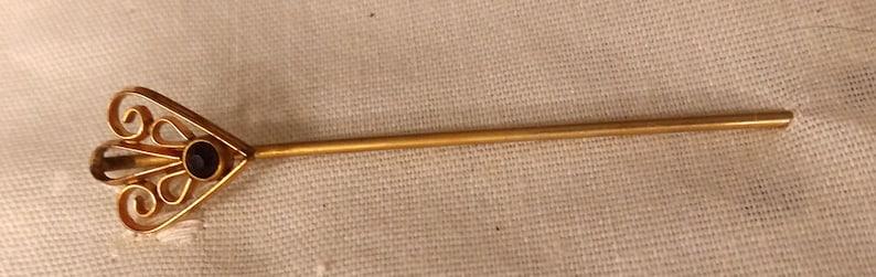 Antique Gold Wash Openwork Stickpin Black Faceted Rhinestone Stick Pin Cravat Pin Open Worked Art Deco Curled Brass
