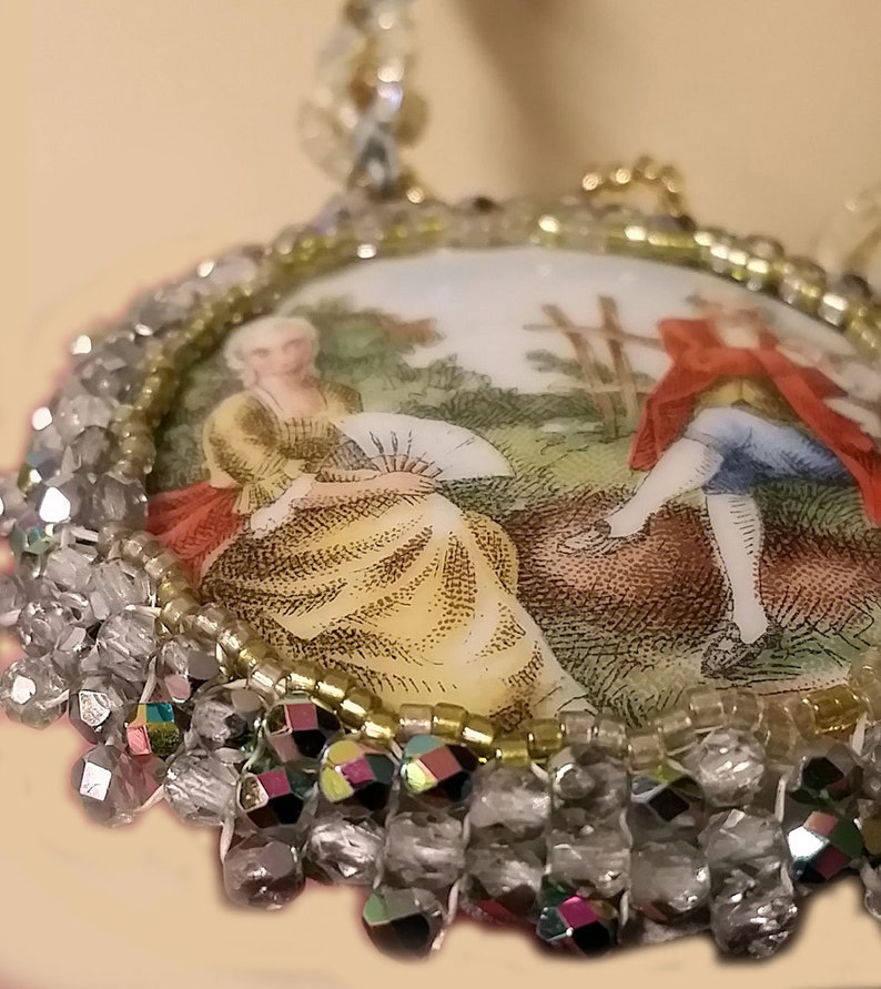 OOAK Micro Macrame Necklace  An Old Song For You Upcycled Antique Porcelain Courting Scene Cab with Crystals and Seed Beads