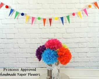 Mini Pennant & Pom Pom Fiesta Banner Cinco De Mayo