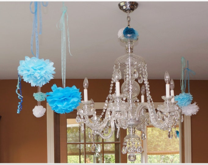 Tissue Paper Poms 9.5  Inch with Organza Ribbon for Hanging