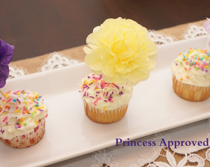 Paper Flower Appetizer/Cupcake Picks (count of 12)
