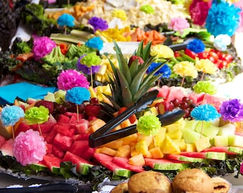 Paper Flower Appetizer/Cupcake Picks (count of 12) Choose Your Own Colors