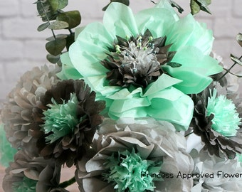 Mint & Gray (Tissue Paper Flowers)
