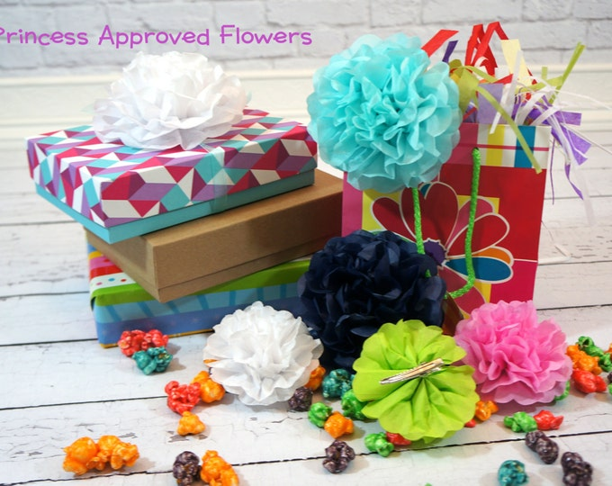 Paper Flower Clips, Mixed Sizes Choose Your Own Colors