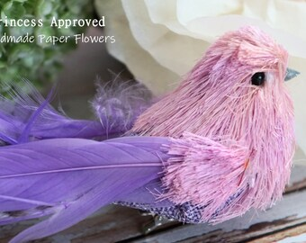 Burlap Sisal Bird with clip (Purple)