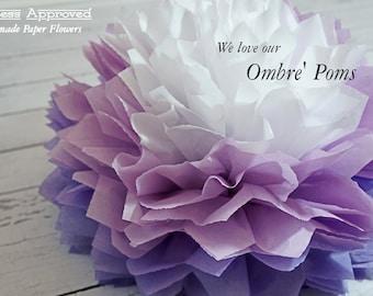 Ombre Tissue Paper Poms 9.5 Inch