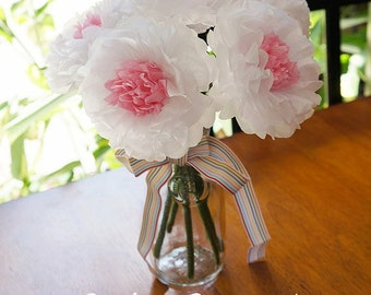 Spring Paper Flowers with Recessed Centers (6 count)