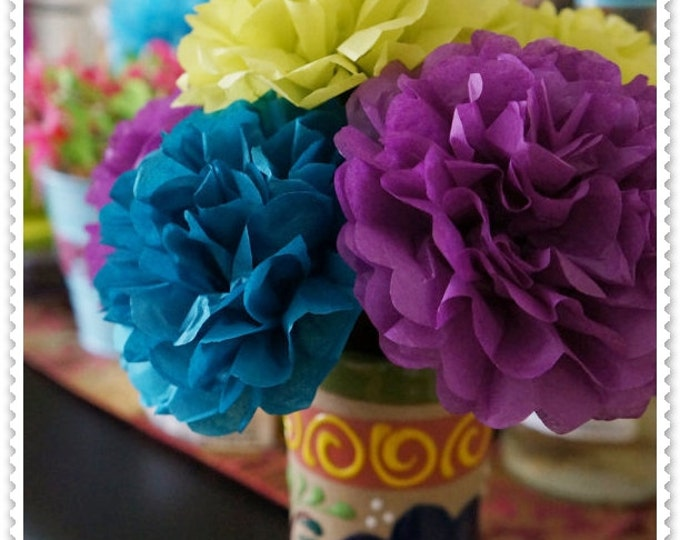 Peacock Color Combination Tissue Paper Flowers (6 count)