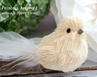 Burlap Sisal Bird with clip (Ivory)
