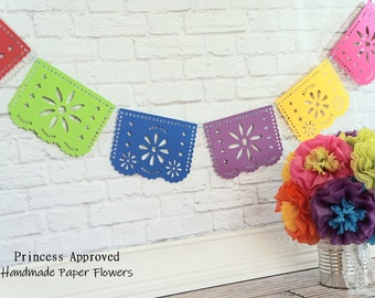 Papel Picado Fiesta Banner with pom poms