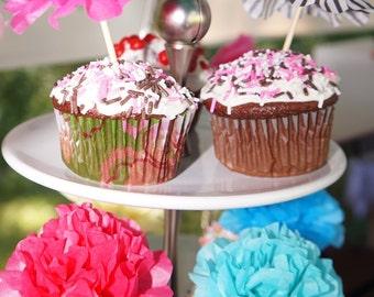 Paper Flower Appetizer/Cupcake Picks (1 dozen) Choose Your Own Colors