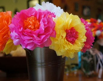 Tissue Paper Flowers with Recessed Centers (12 count)