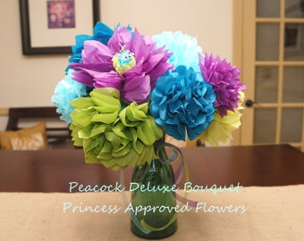 Peacock Deluxe Tissue Paper Flowers