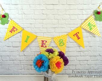 Yellow Fiesta Banner w/Cactus