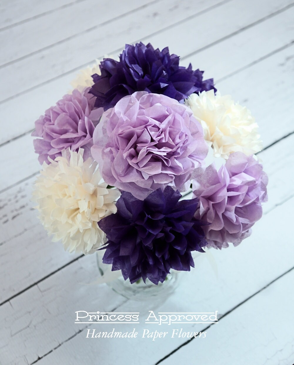 Purple french vanilla tissue paper flower bouquet izmirmasajfo