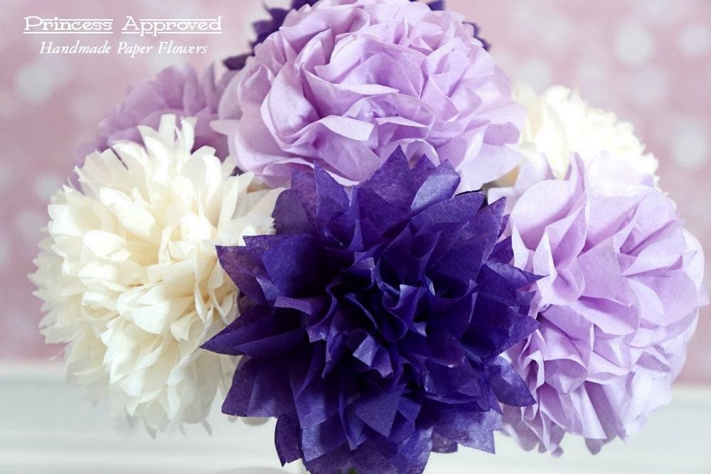 Purple & French Vanilla Tissue Paper Flower Bouquet