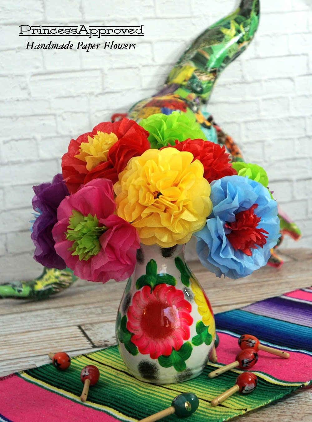 New Fiesta Mixed Flowers Tissue Paper Flowers 12 Count