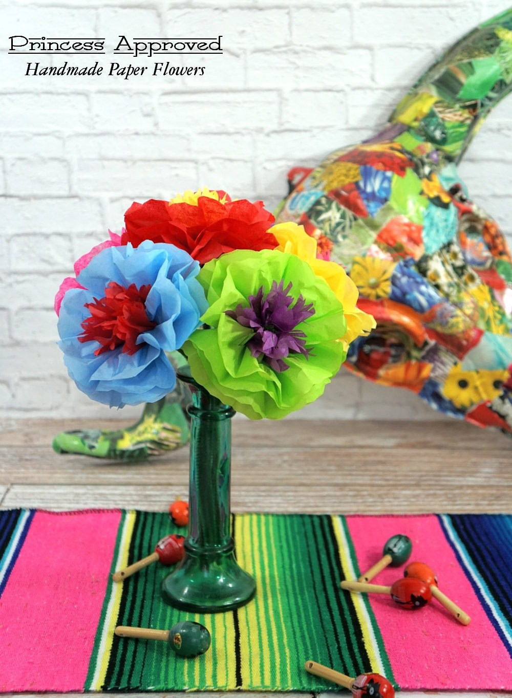 New Fiesta Cinco De Mayo Bouquet Handmade Tissue Paper Flowers