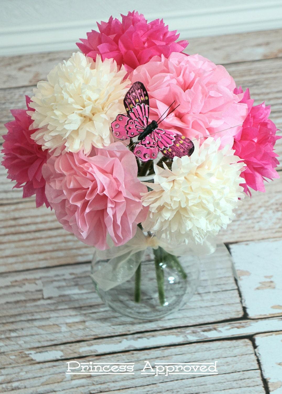 Pink & French Vanilla Tissue Paper Flower Bouquet