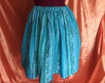 Ivy Gathered Skirt-Aqua