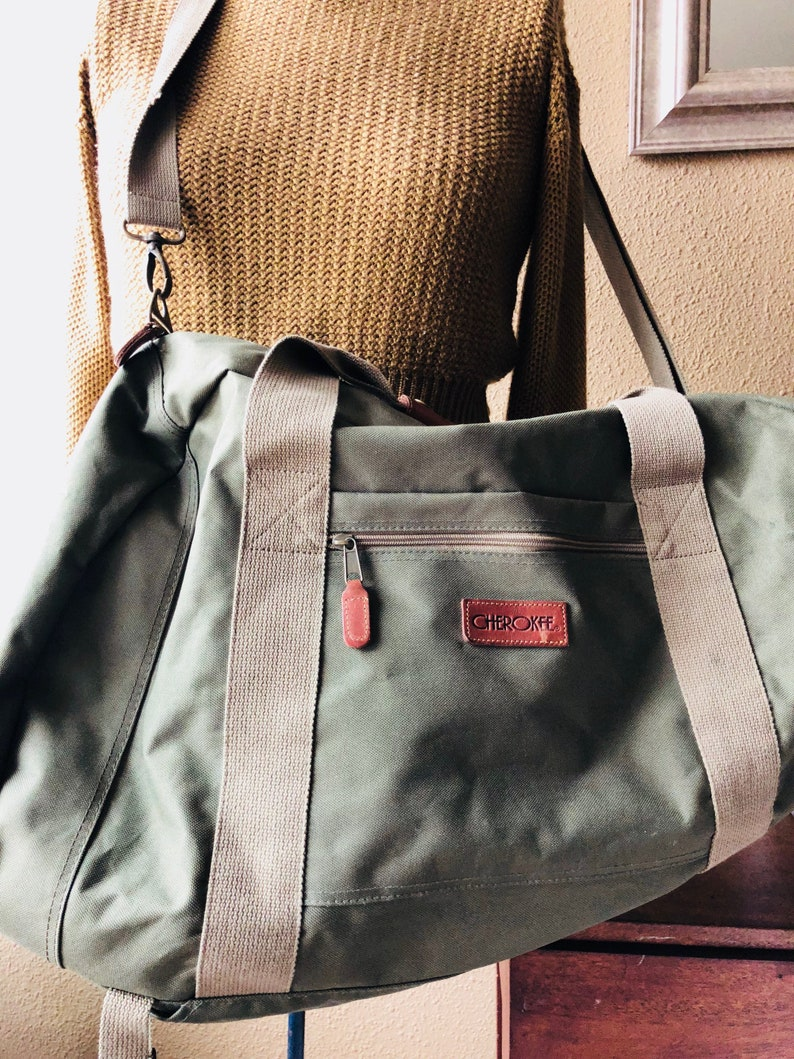 49141669f9dc48 Leather Canvas Duffle Bag Leather Travel Bag Cherokee Backpack