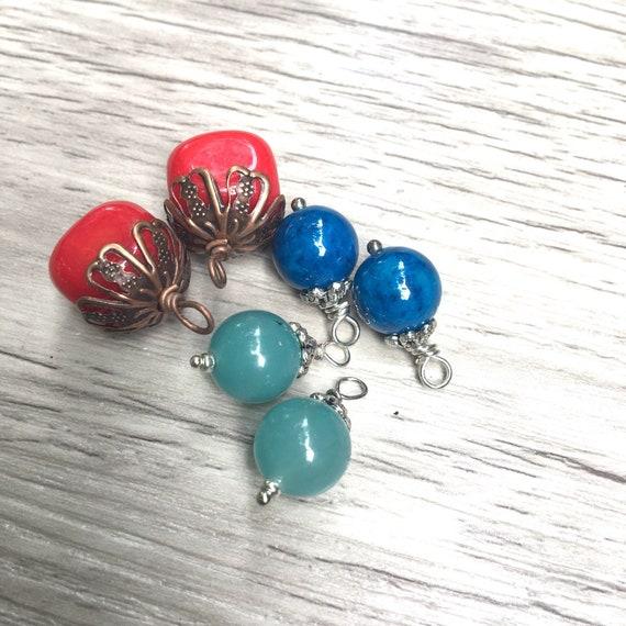 Gemstone Bead Dangles Wire Wrapped Dangles Diy Earrings Etsy