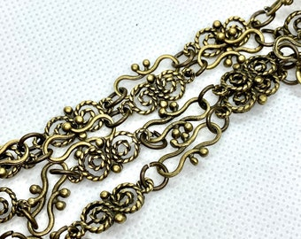 Antique Bronze Chain ,Butterfly Link Chain,  Hammered Bronze Chain ,Sold by the Foot Commercial