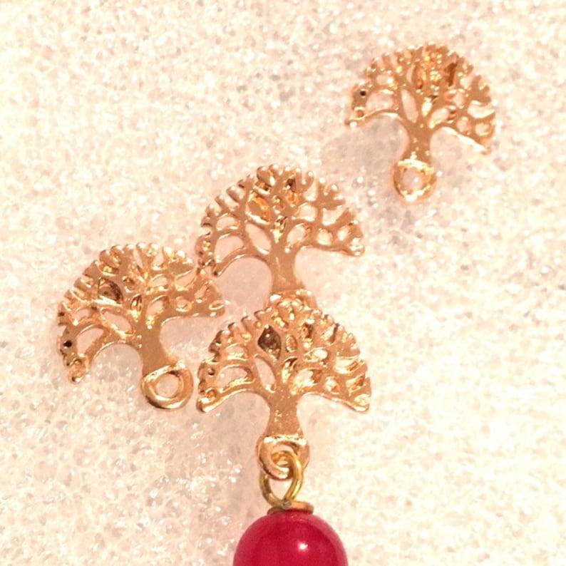 Tree of Life Post Earrings \\ Stud Earrings Findings 13x13 mm \\ Rose Gold  Earring Posts With Loop \\Minimalist findings TWO pairs