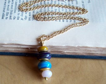 Beach Stones - Brass And lampwork Bead Necklace