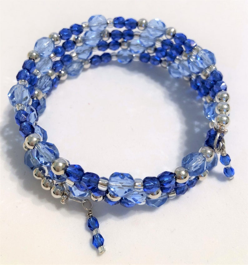 Blue Shades Silver Accents 4 Coil Memory Wire Handmade image 0