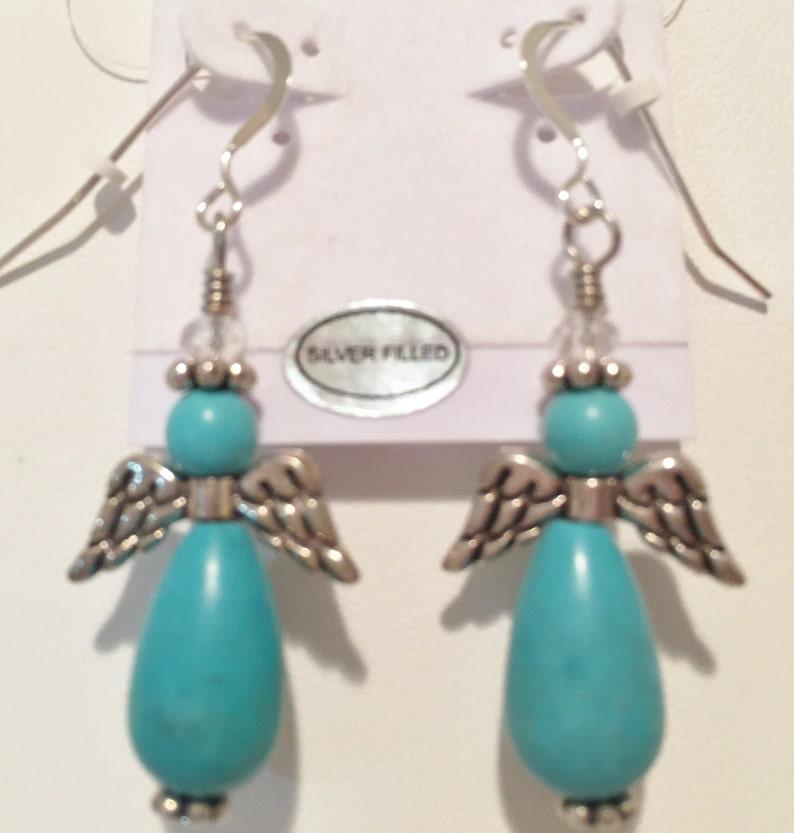 Gemstone Angel Earrings Howlite Turquoise Angels Women's image 0