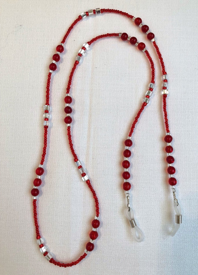 Red Silver Beaded Eyeglass Sunglasses Chain Holder Necklace image 0