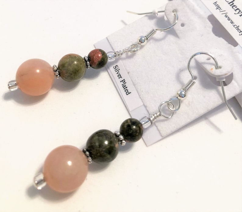 Unakite and Peach Stone Gemstone Beaded Earrings Handmade image 0
