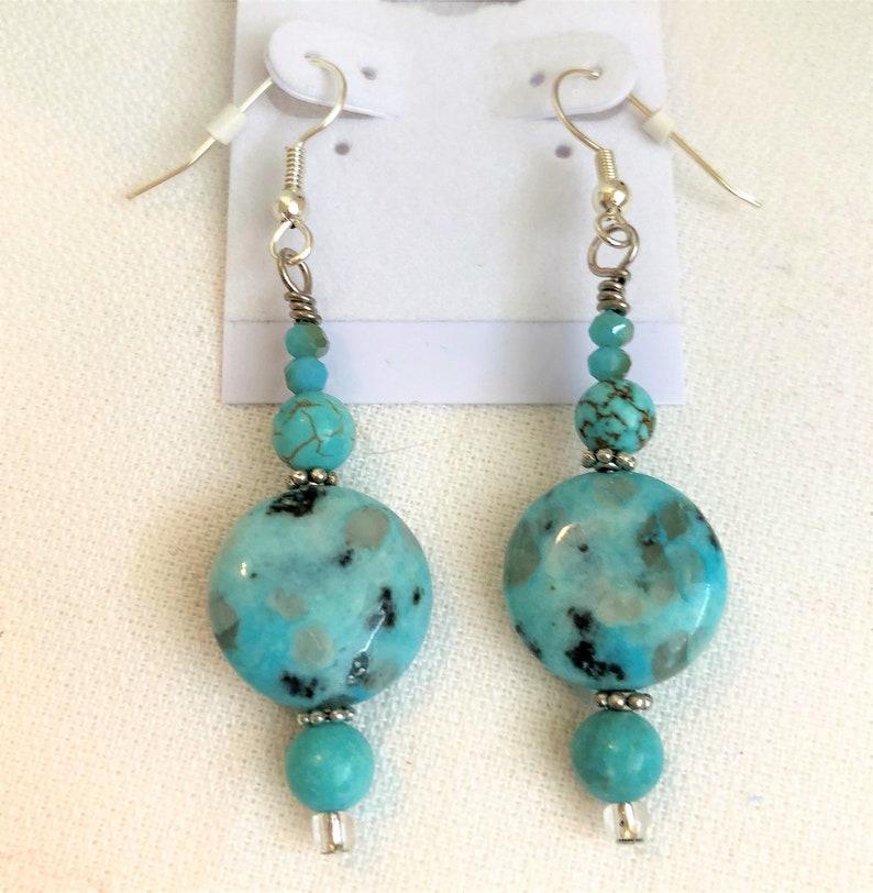Howlite Gemstone Dangle Handmade Jewelry Earrings image 0