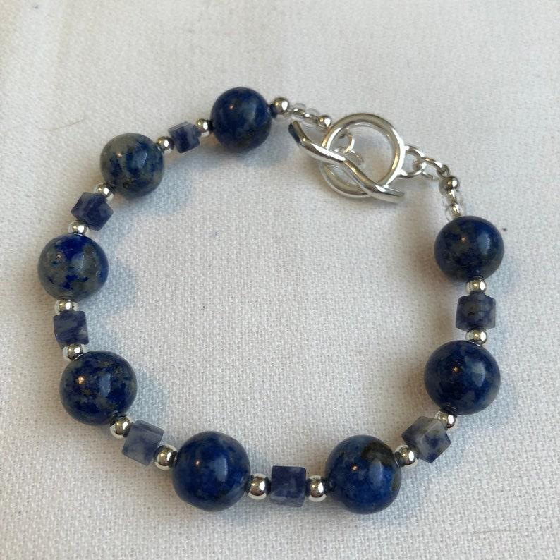 Handmade Jewelry Bracelet Sodalite Gemstone Beads and Silver image 0