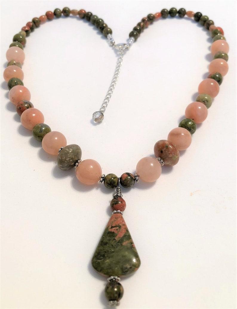 Gemstones Unakite and Peach Stone Pendant Handmade Necklace image 0