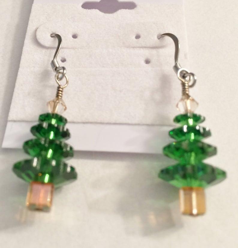 Earrings Jewelry Christmas Tree Earrings Green Swarovski image 0