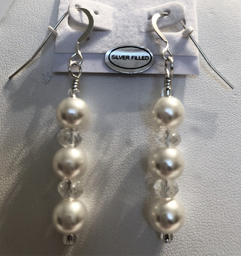 Pearl and Crystal Beaded Earrings Handmade Dangle Style image 0