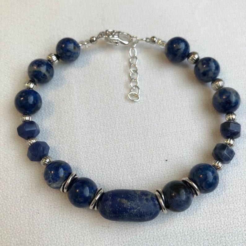 Mens Man Unisex Handmade Bracelet Sodalite Gemstone Beads image 0