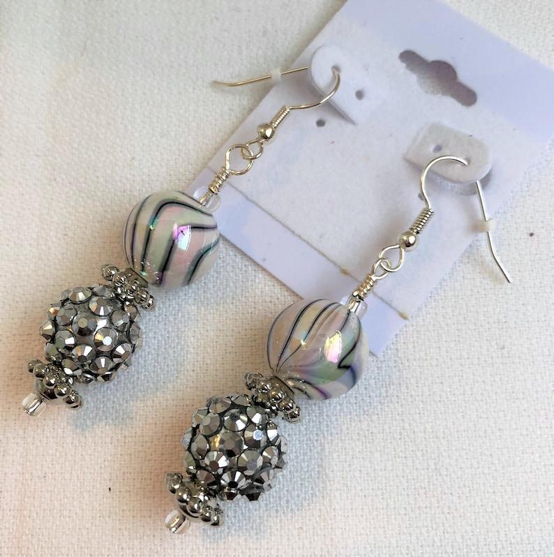 Shiny Silver Acrylic Lightweight Beaded Earrings Handmade image 0