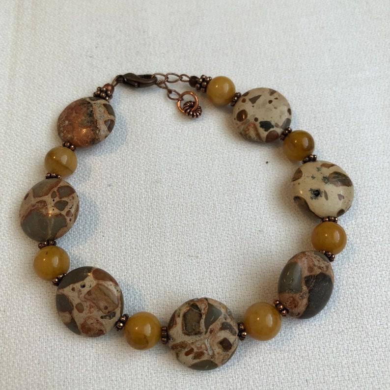 Mens Unisex Adult Handmade Bracelet Jasper Gemstone Beads image 0