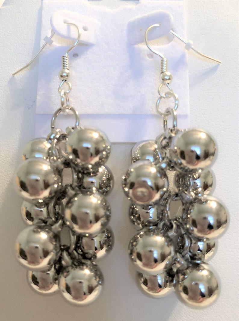 Silver Balls Cluster Dangle Drop Handmade Earrings image 0
