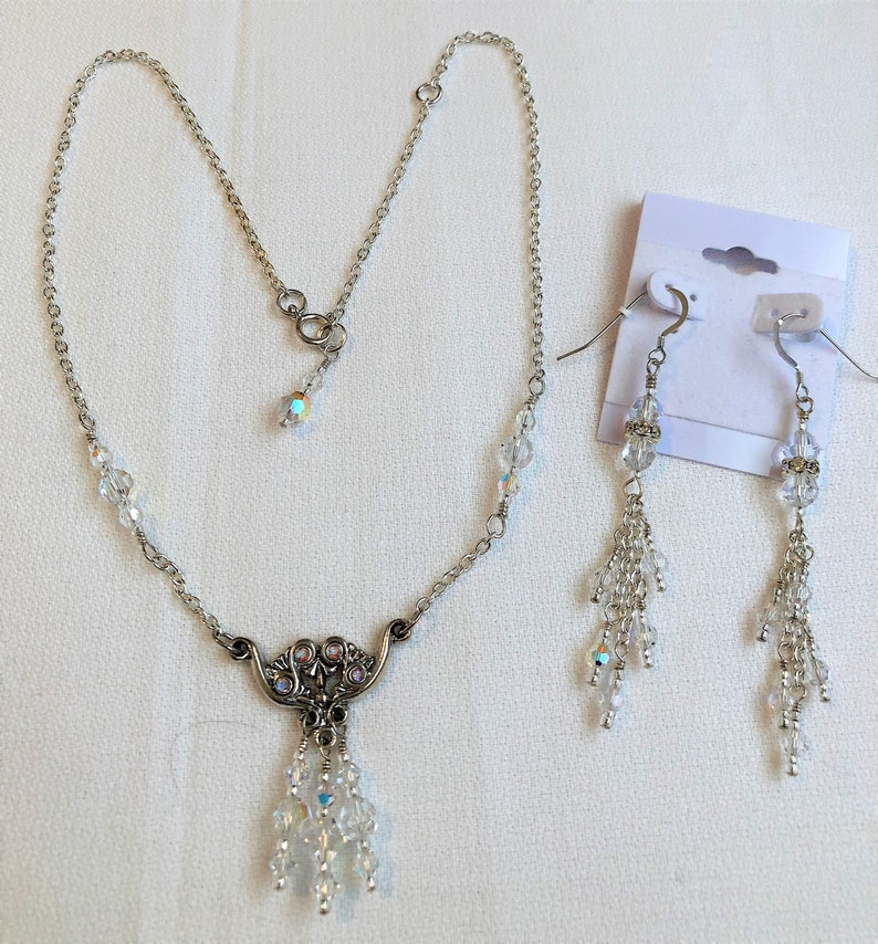 Chain and Swarovski Crystals Pendant Necklace Set Handmade image 0
