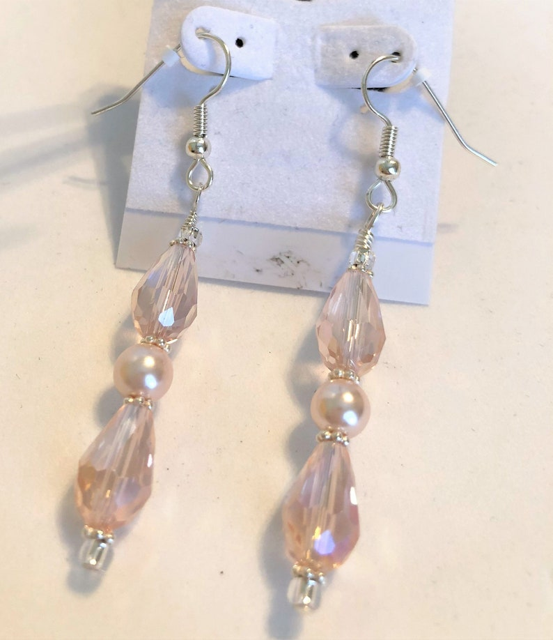 Pink Drops and Pearl Beaded Earrings Handmade Dangle Style image 0