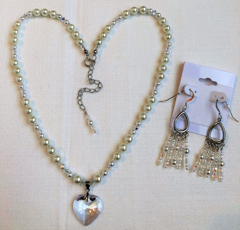 White Pearls Crystal Heart Pendant Handmade Jewelry Necklace image 0